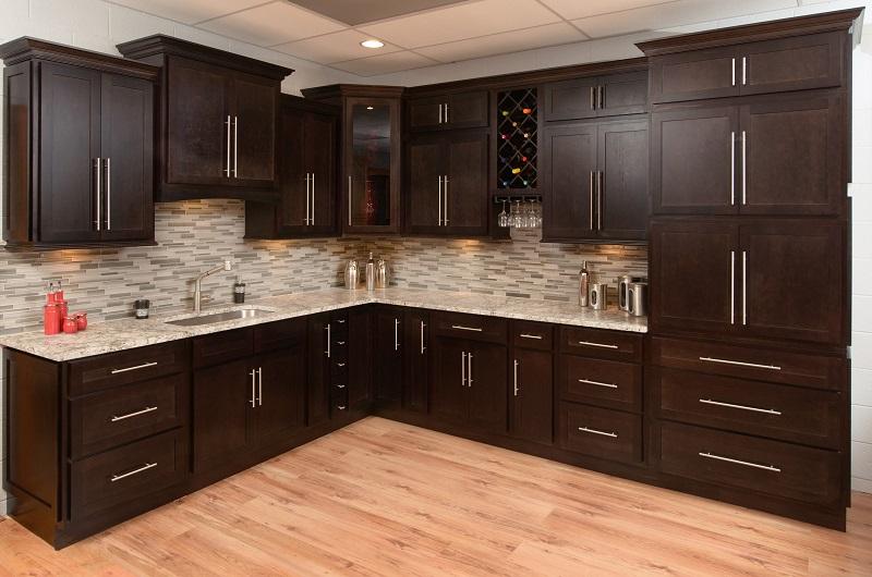 Espresso Shaker Cabinets 10 x 10 Kitchen Layout - Discount ...